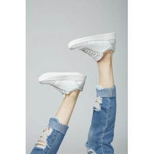 Белые женские перфорированные кроссовки