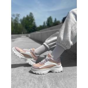 Пудровые массивные кроссовки с перфорированой кожей