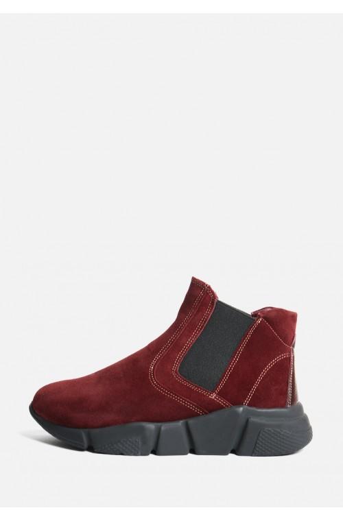 Замшевые бордовые ботинки с резинками