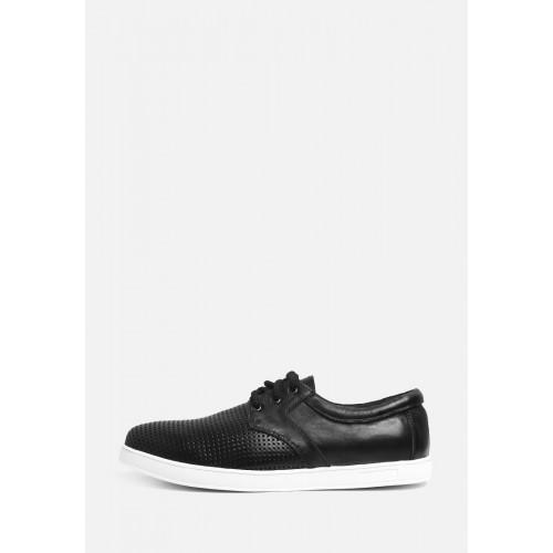 Черные кожаные кеды на белой подошве