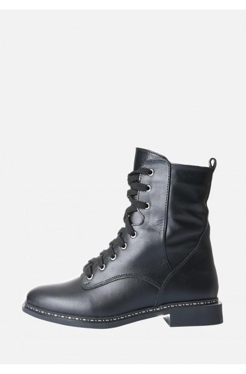 Кожаные зимние кожаные ботинки с блестящей подошвой