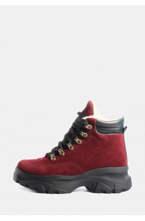 Бордовые замшевые ботинки на овчине