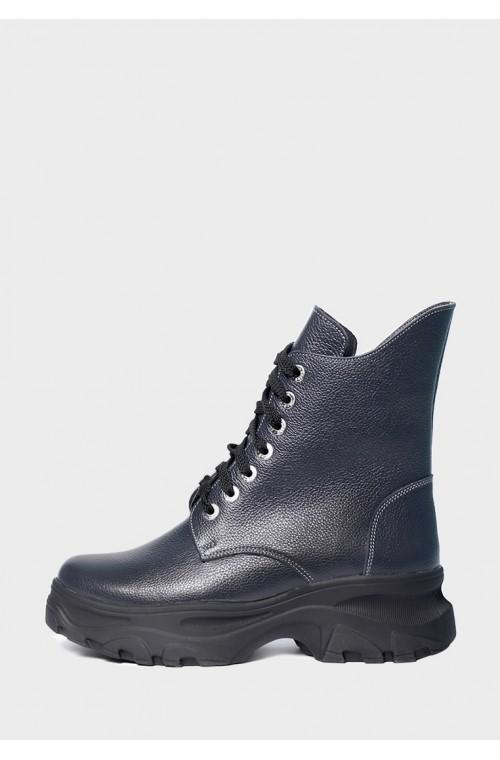 Зимние высокие кожаные ботинки на нескользкой подошве