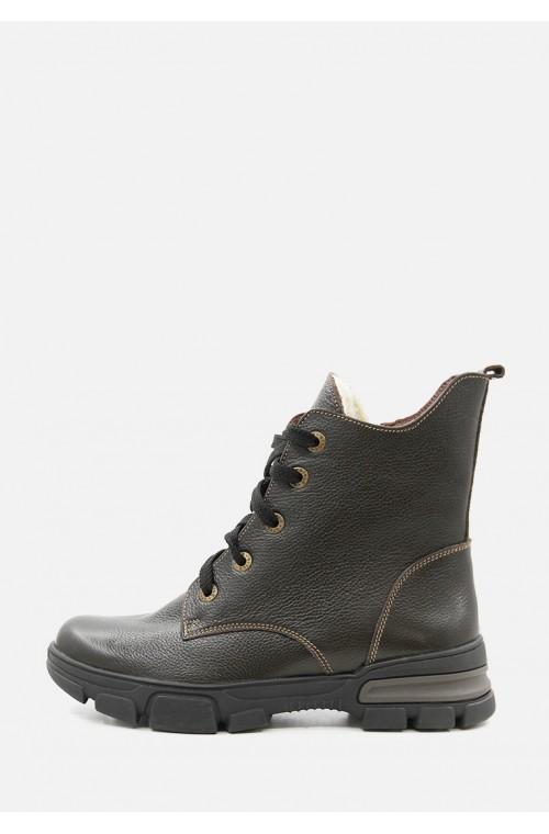 Теплые кожаные коричневые зимние ботинки