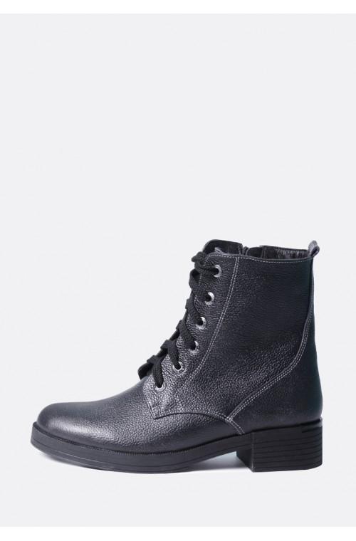 Кожаные ботинки на шнуровке синие