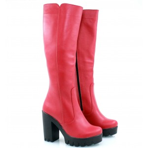 Красные  сапоги кожаные
